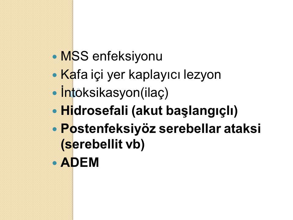 MSS enfeksiyonu Kafa içi yer kaplayıcı lezyon İntoksikasyon(ilaç) Hidrosefali (akut başlangıçlı) Postenfeksiyöz serebellar ataksi (serebellit vb) ADEM