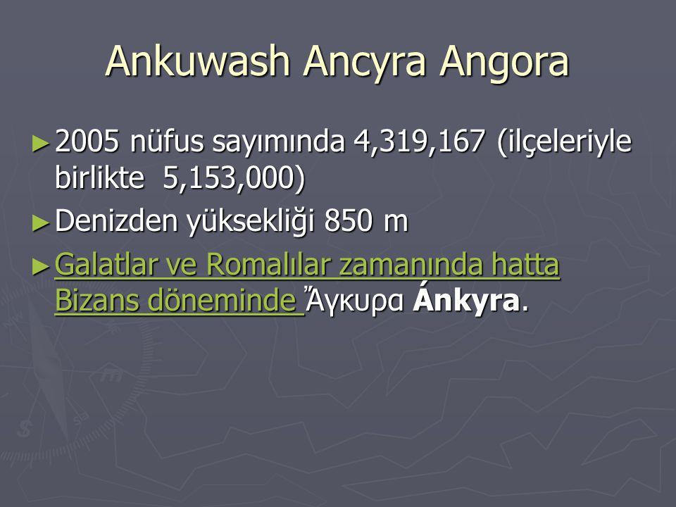 Ankuwash Ancyra Angora ► 2005 nüfus sayımında 4,319,167 (ilçeleriyle birlikte 5,153,000) ► Denizden yüksekliği 850 m ► Galatlar ve Romalılar zamanında hatta Bizans döneminde Ἄγκυρα Ánkyra.