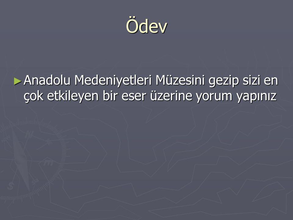 Ödev ► Anadolu Medeniyetleri Müzesini gezip sizi en çok etkileyen bir eser üzerine yorum yapınız