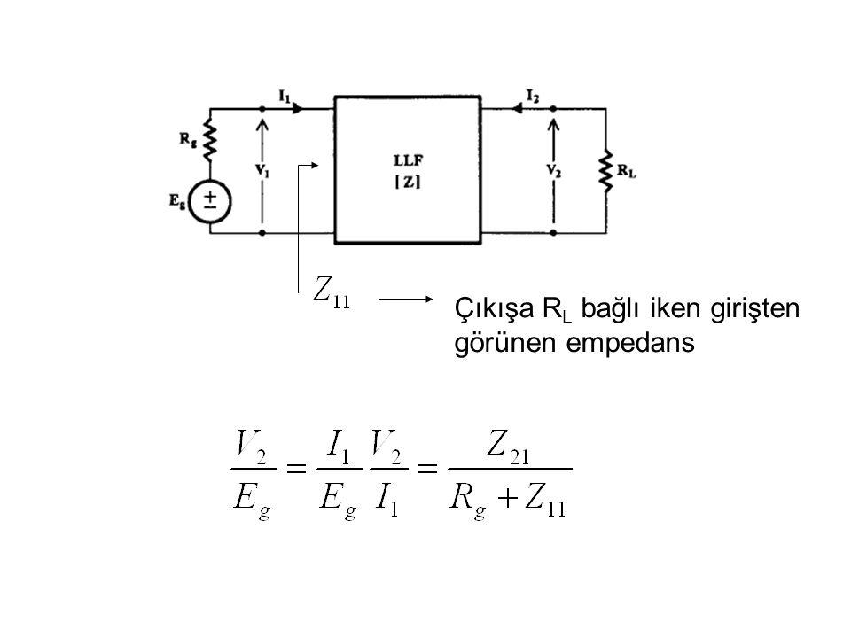 Çıkışa R L bağlı iken girişten görünen empedans
