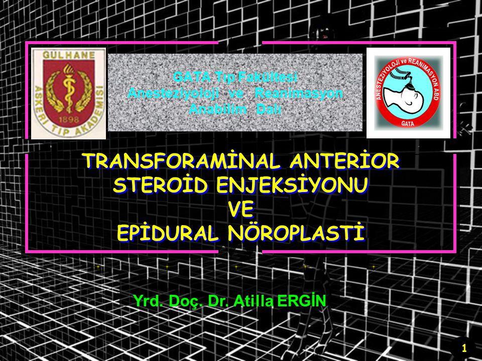 42 Epidural nöroplasti Hasta hazırlığı ve pozisyon Pron pozisyon (baş parmaklar içe dönük) Noninvaziv anestetik monitörizasyon (TA, satürasyon, EKG) Girişim alanının steril hazırlığı Damaryolu Sedasyon