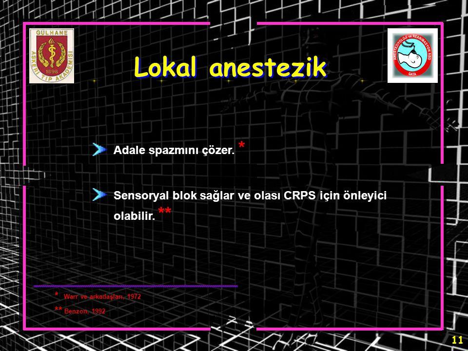 11 Lokal anestezik Adale spazmını çözer. * Sensoryal blok sağlar ve olası CRPS için önleyici olabilir. ** * Warr ve arkadaşları, 1972 ** Benzon, 1992