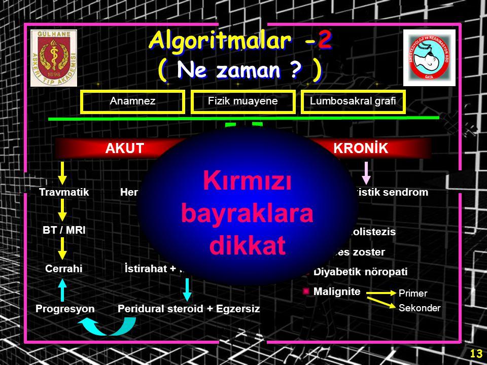 13 Algoritmalar -2 ( Ne zaman ? ) AnamnezFizik muayeneLumbosakral grafi AKUTKRONİK TravmatikHerniye nükleus pulpozus BT / MRI Cerrahi BT / MRI / EMG İ