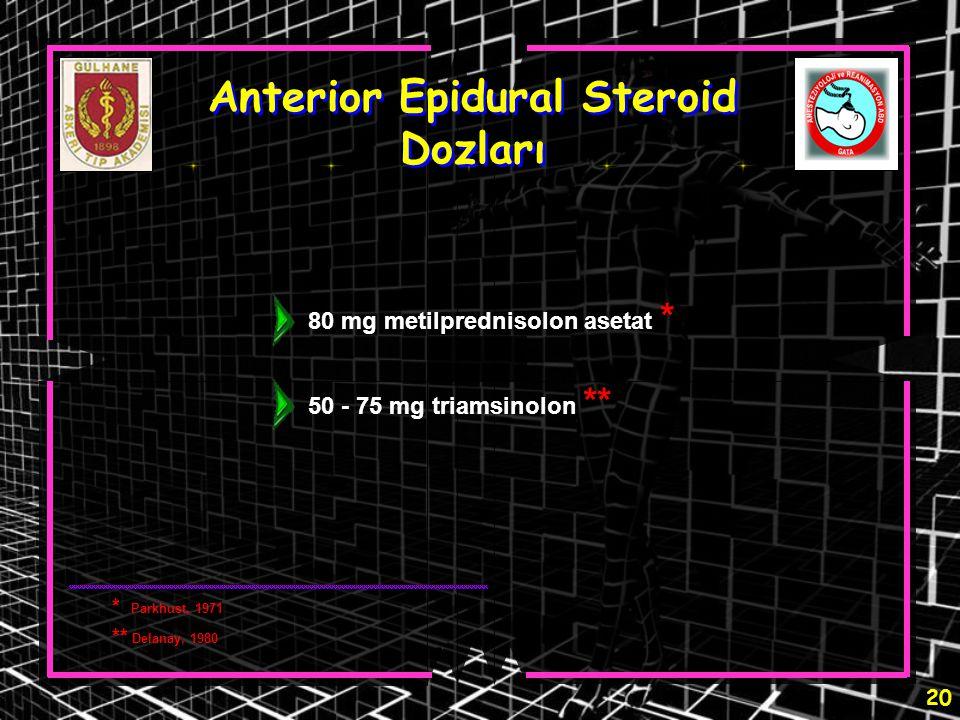 20 Anterior Epidural Steroid Dozları 80 mg metilprednisolon asetat * 50 - 75 mg triamsinolon ** * Parkhust, 1971 ** Delanay, 1980