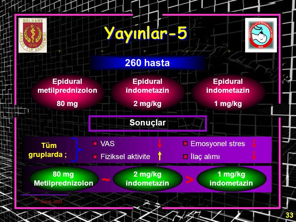 33 VAS Fiziksel aktivite Emosyonel stres İlaç alımı Tüm gruplarda ; Yayınlar-5 Epidural metilprednizolon 80 mg Epidural indometazin 2 mg/kg Epidural i