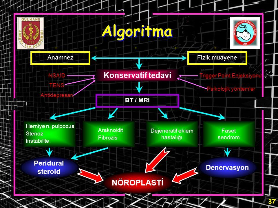 37 Algoritma AnamnezFizik muayene Konservatif tedavi BT / MRI NÖROPLASTİ Herniye n. pulpozus Stenoz İnstabilite Araknoidit Fibrozis Dejeneratif eklem