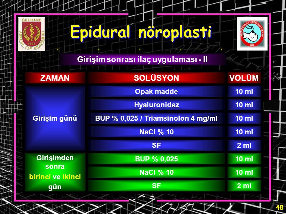 48 Epidural nöroplasti Girişim sonrası ilaç uygulaması - II ZAMANSOLÜSYONVOLÜM Girişim günü Opak madde10 ml Hyaluronidaz10 ml BUP % 0,025 / Triamsinol