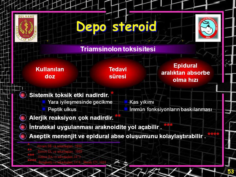53 Depo steroid Triamsinolon toksisitesi Kullanılan doz Tedavi süresi Epidural aralıktan absorbe olma hızı Sistemik toksik etki nadirdir. * Alerjik re