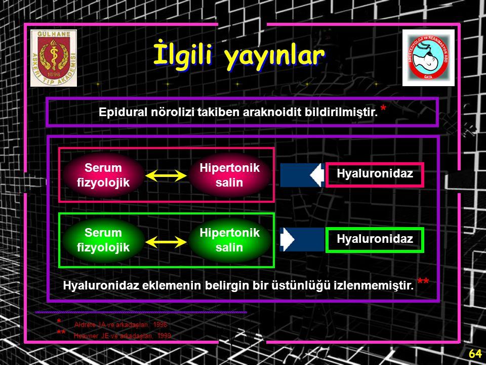 64 İlgili yayınlar Epidural nörolizi takiben araknoidit bildirilmiştir. * Hyaluronidaz eklemenin belirgin bir üstünlüğü izlenmemiştir. ** Serum fizyol