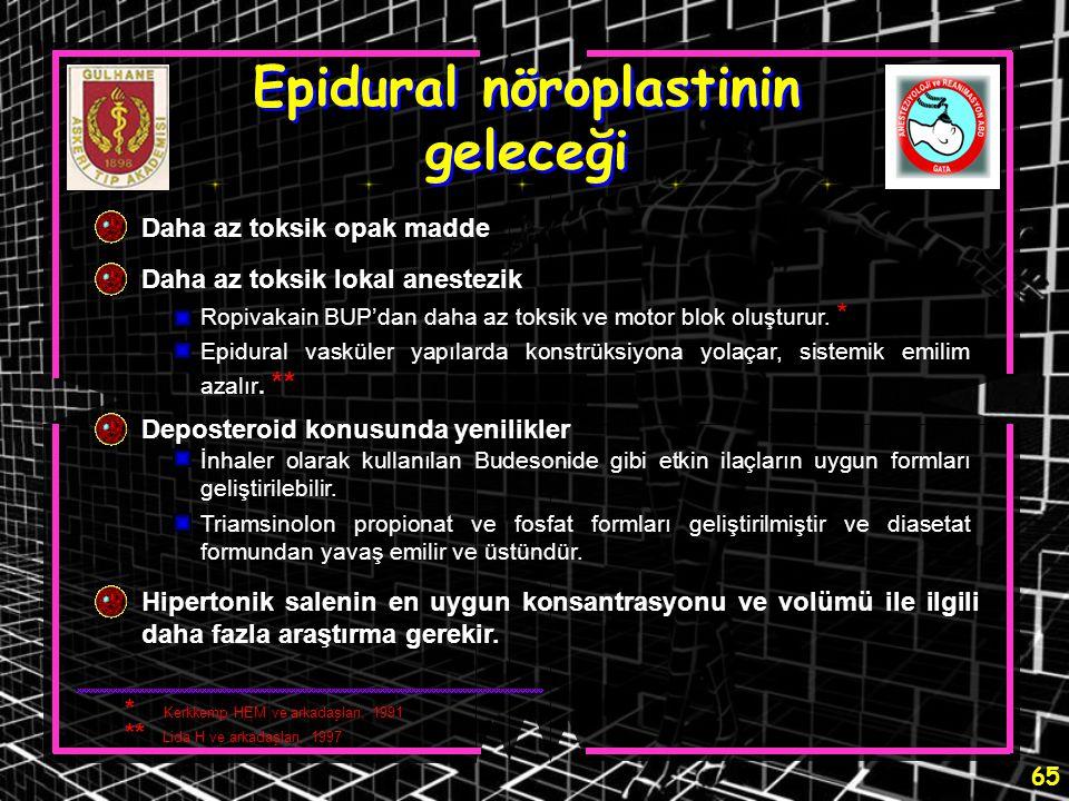 65 Epidural nöroplastinin geleceği Daha az toksik opak madde Daha az toksik lokal anestezik Deposteroid konusunda yenilikler Hipertonik salenin en uyg