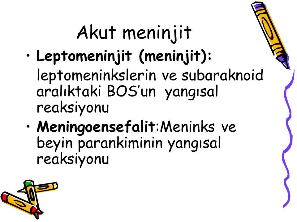 Akut meninjit Leptomeninjit (meninjit): leptomeninkslerin ve subaraknoid aralıktaki BOS'un yangısal reaksiyonu Meningoensefalit:Meninks ve beyin paran