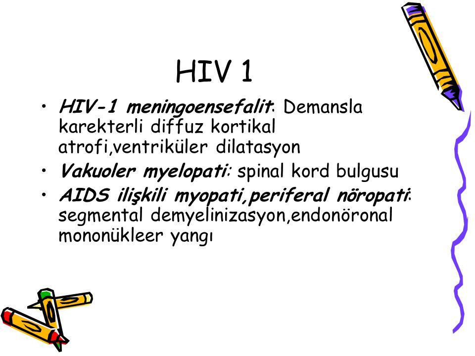 HIV 1 HIV-1 meningoensefalit: Demansla karekterli diffuz kortikal atrofi,ventriküler dilatasyon Vakuoler myelopati: spinal kord bulgusu AIDS ilişkili