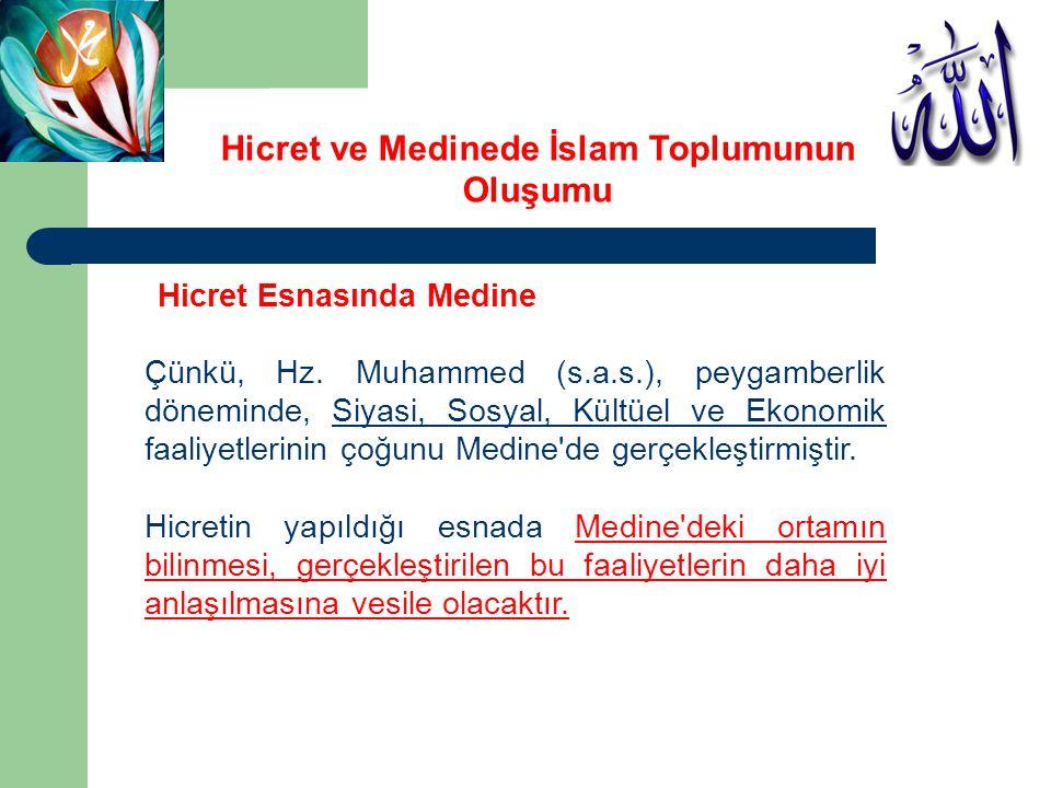Hicret Esnasında Medine Çünkü, Hz. Muhammed (s.a.s.), peygamberlik döneminde, Siyasi, Sosyal, Kültüel ve Ekonomik faaliyetlerinin çoğunu Medine'de ger