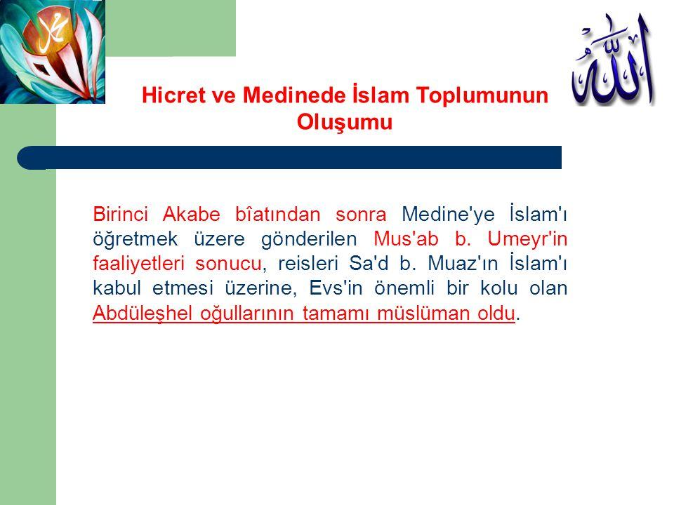 Birinci Akabe bîatından sonra Medine'ye İslam'ı öğretmek üzere gönderilen Mus'ab b. Umeyr'in faaliyetleri sonucu, reisleri Sa'd b. Muaz'ın İslam'ı kab