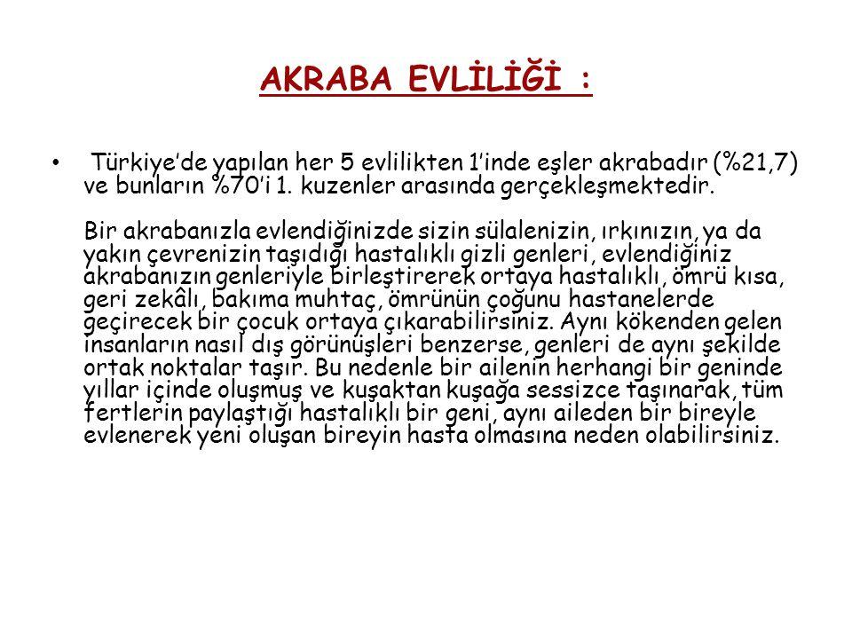 AKRABA EVLİLİĞİ : Türkiye'de yapılan her 5 evlilikten 1'inde eşler akrabadır (%21,7) ve bunların %70'i 1. kuzenler arasında gerçekleşmektedir. Bir akr