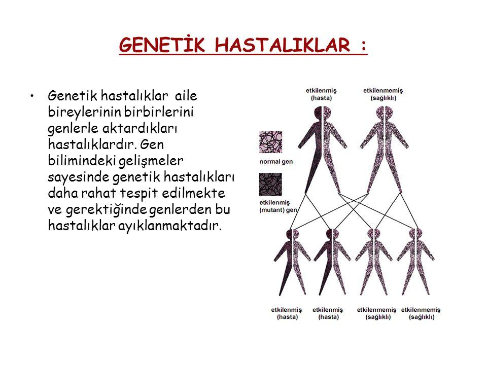 GENETİK HASTALIKLAR : Genetik hastalıklar aile bireylerinin birbirlerini genlerle aktardıkları hastalıklardır. Gen bilimindeki gelişmeler sayesinde ge
