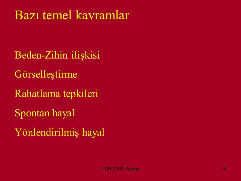 PDR 2009, Adana16 Bazı temel kavramlar Beden-Zihin ilişkisi Görselleştirme Rahatlama tepkileri Spontan hayal Yönlendirilmiş hayal