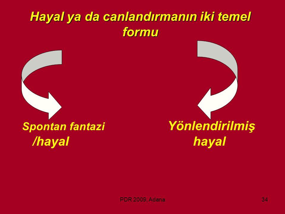 PDR 2009, Adana34 Spontan fantazi Yönlendirilmiş /hayalhayal Hayal ya da canlandırmanın iki temel formu