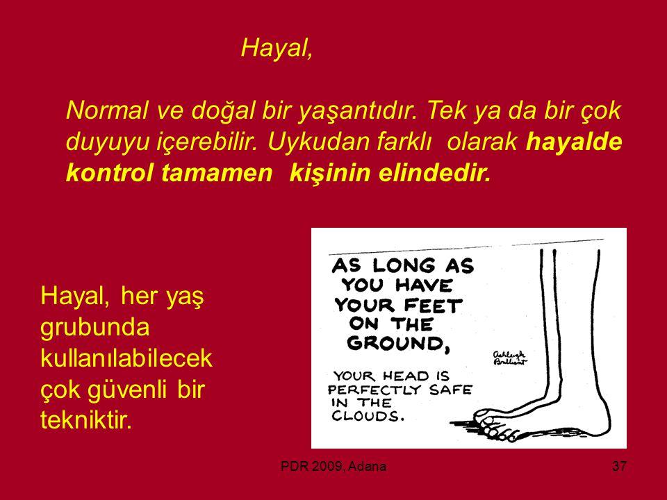 PDR 2009, Adana37 Hayal, Normal ve doğal bir yaşantıdır. Tek ya da bir çok duyuyu içerebilir. Uykudan farklı olarak hayalde kontrol tamamen kişinin el