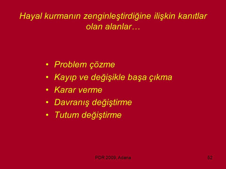 PDR 2009, Adana52 Hayal kurmanın zenginleştirdiğine ilişkin kanıtlar olan alanlar… Problem çözme Kayıp ve değişikle başa çıkma Karar verme Davranış de