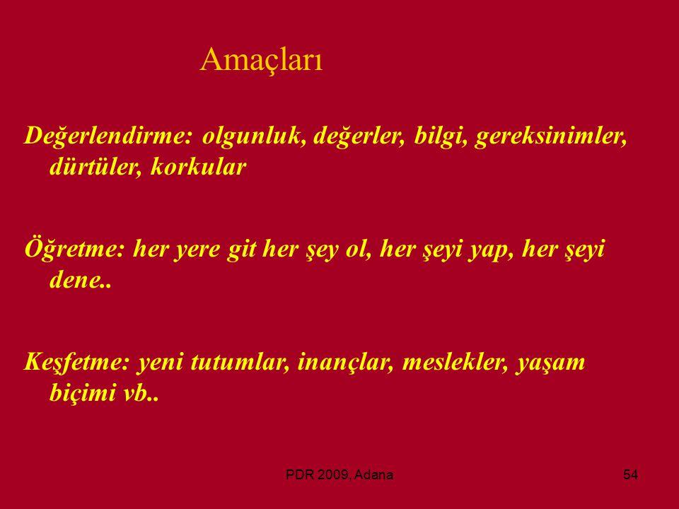 PDR 2009, Adana54 Değerlendirme: olgunluk, değerler, bilgi, gereksinimler, dürtüler, korkular Öğretme: her yere git her şey ol, her şeyi yap, her şeyi