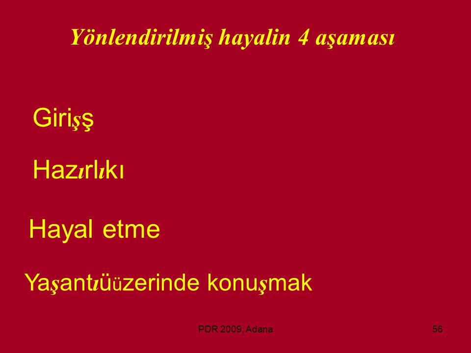 PDR 2009, Adana56 Yönlendirilmiş hayalin 4 aşaması Giri ş ş Haz ı rl ı kı Hayal etme Ya ş ant ı ü ü zerinde konu ş mak
