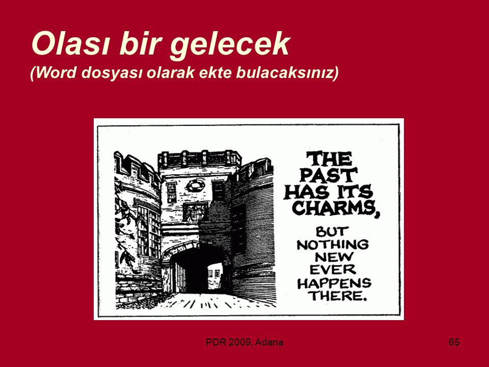 PDR 2009, Adana65 Olası bir gelecek (Word dosyası olarak ekte bulacaksınız)