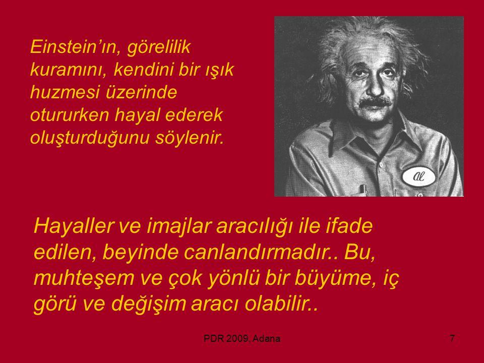 PDR 2009, Adana7 Einstein'ın, görelilik kuramını, kendini bir ışık huzmesi üzerinde otururken hayal ederek oluşturduğunu söylenir. Hayaller ve imajlar