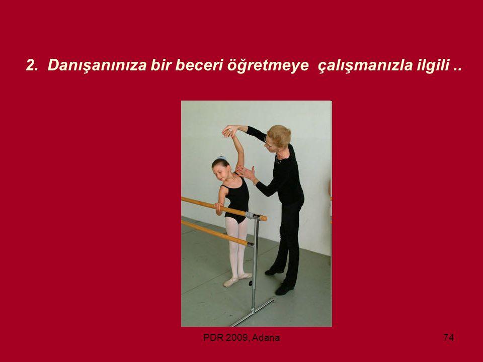 PDR 2009, Adana74 2. Danışanınıza bir beceri öğretmeye çalışmanızla ilgili..