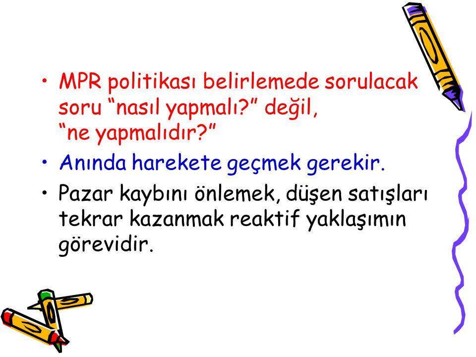 MPR politikası belirlemede sorulacak soru nasıl yapmalı? değil, ne yapmalıdır? Anında harekete geçmek gerekir.
