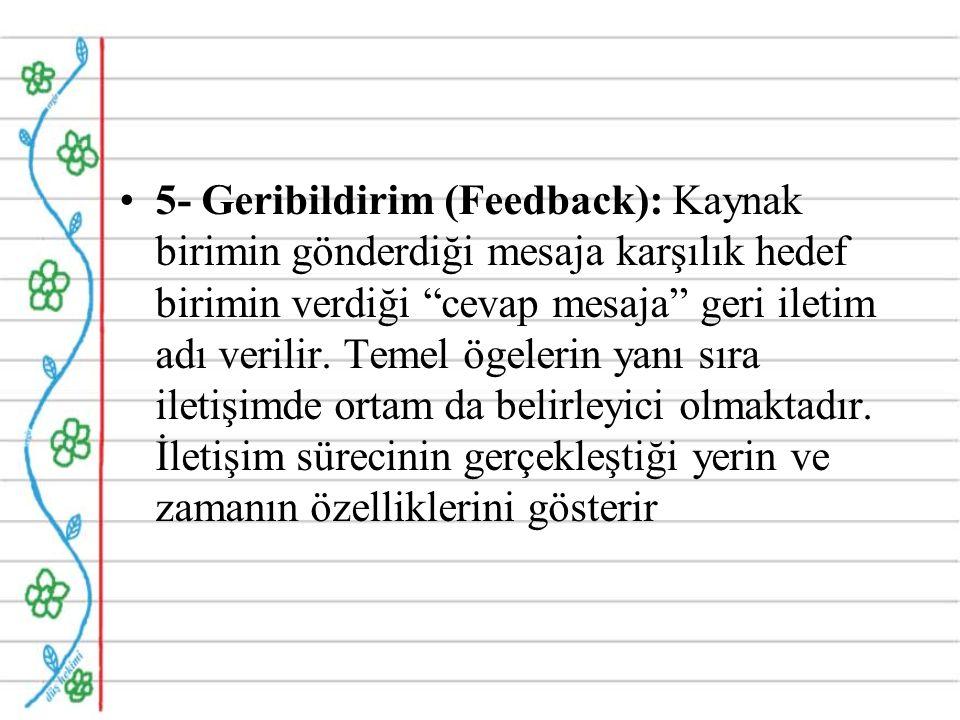 5- Geribildirim (Feedback): Kaynak birimin gönderdiği mesaja karşılık hedef birimin verdiği cevap mesaja geri iletim adı verilir.