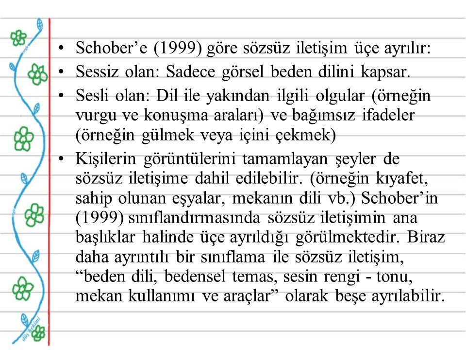 Schober'e (1999) göre sözsüz iletişim üçe ayrılır: Sessiz olan: Sadece görsel beden dilini kapsar.