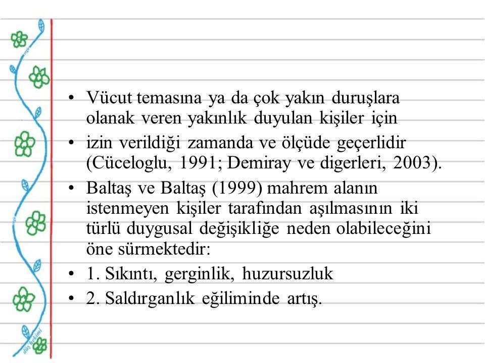 Vücut temasına ya da çok yakın duruşlara olanak veren yakınlık duyulan kişiler için izin verildiği zamanda ve ölçüde geçerlidir (Cüceloglu, 1991; Demiray ve digerleri, 2003).