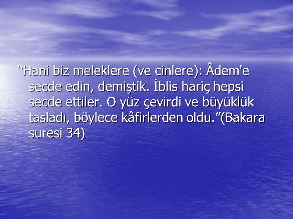 Hani biz meleklere (ve cinlere): Âdem e secde edin, demiştik.