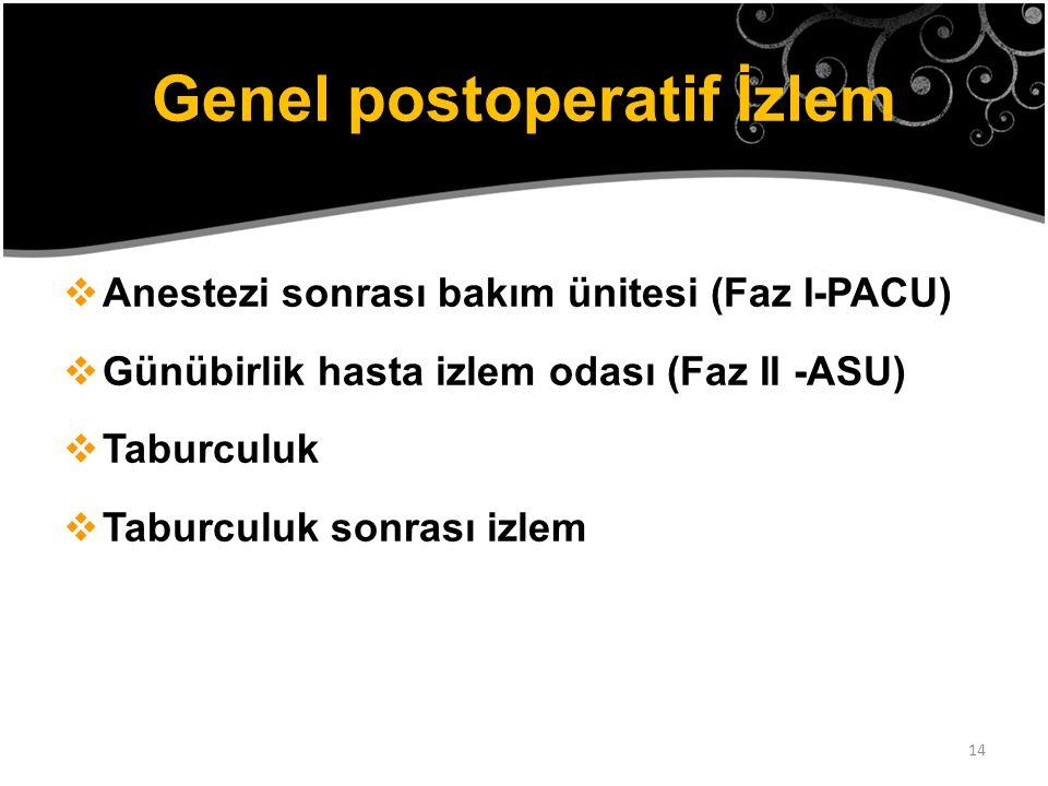 14 Genel postoperatif İzlem  Anestezi sonrası bakım ünitesi (Faz I-PACU)  Günübirlik hasta izlem odası (Faz II -ASU)  Taburculuk  Taburculuk sonra