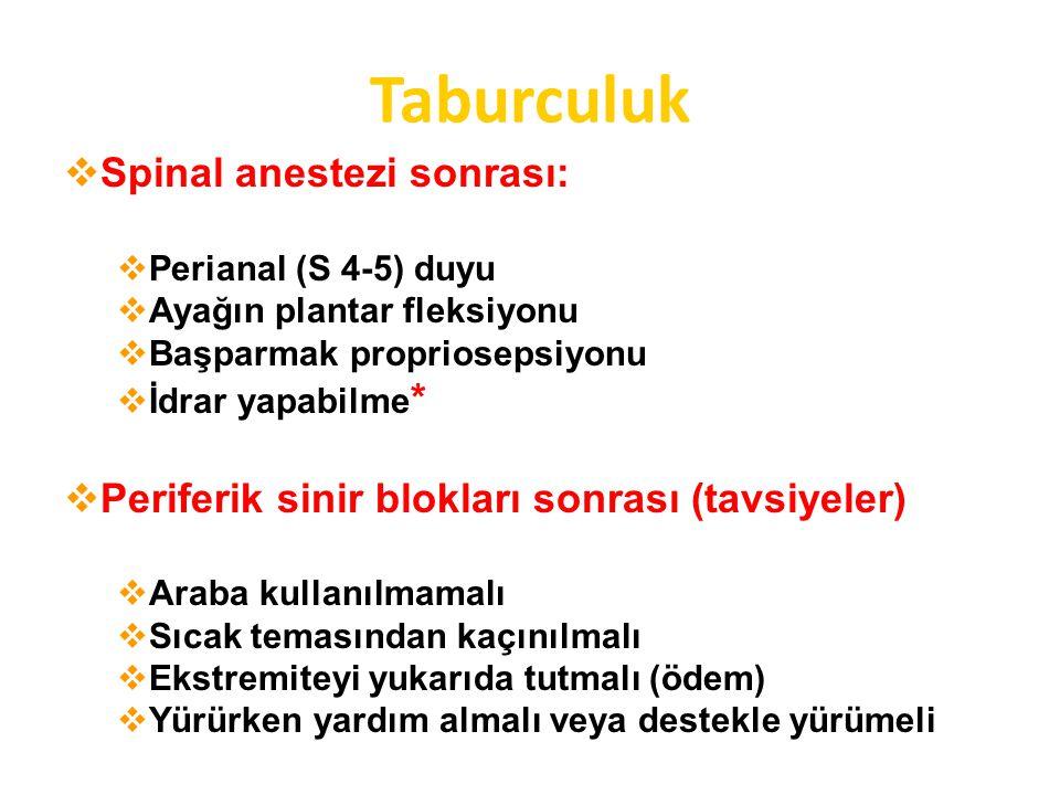 Taburculuk  Spinal anestezi sonrası:  Perianal (S 4-5) duyu  Ayağın plantar fleksiyonu  Başparmak propriosepsiyonu  İdrar yapabilme *  Periferik