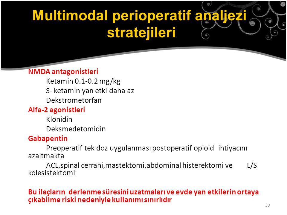 30 NMDA antagonistleri Ketamin 0.1-0.2 mg/kg S- ketamin yan etki daha az Dekstrometorfan Alfa-2 agonistleri Klonidin Deksmedetomidin Gabapentin Preope
