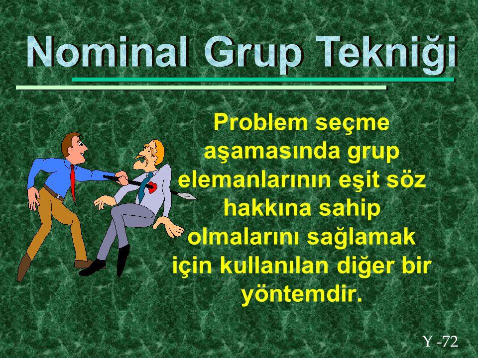 Y -72 Problem seçme aşamasında grup elemanlarının eşit söz hakkına sahip olmalarını sağlamak için kullanılan diğer bir yöntemdir.