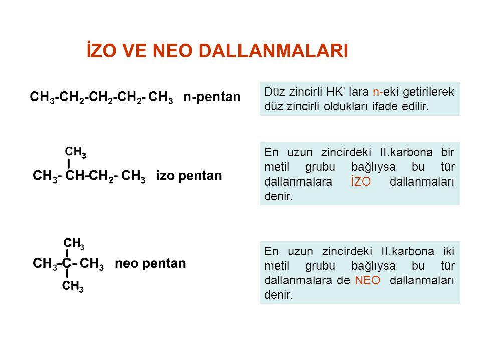 CH 3 -CH 2 -CH 2 -CH 2 - CH 3 n-pentan İZO VE NEO DALLANMALARI Düz zincirli HK' lara n-eki getirilerek düz zincirli oldukları ifade edilir. En uzun zi