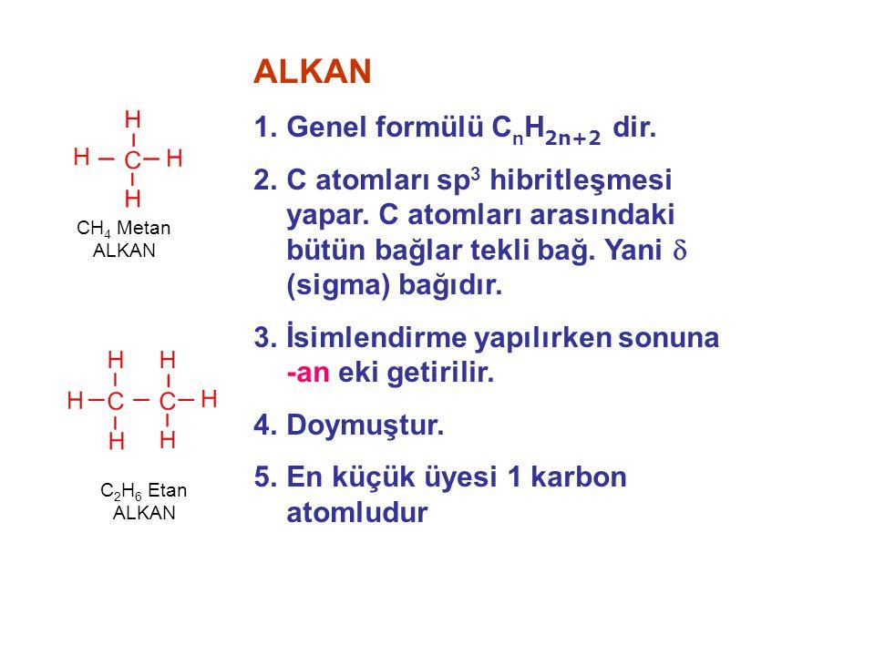 ALKAN 1.Genel formülü C n H 2n+2 dir. 2.C atomları sp 3 hibritleşmesi yapar. C atomları arasındaki bütün bağlar tekli bağ. Yani  (sigma) bağıdır. 3.İ