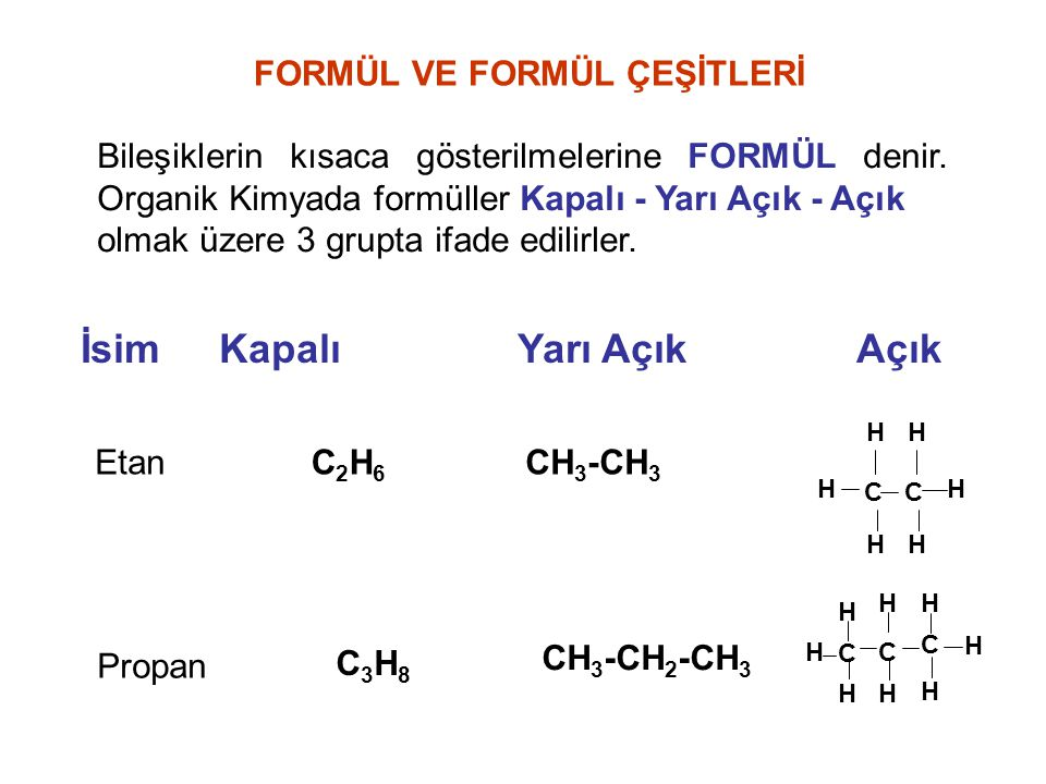FORMÜL VE FORMÜL ÇEŞİTLERİ Bileşiklerin kısaca gösterilmelerine FORMÜL denir. Organik Kimyada formüller Kapalı - Yarı Açık - Açık olmak üzere 3 grupta