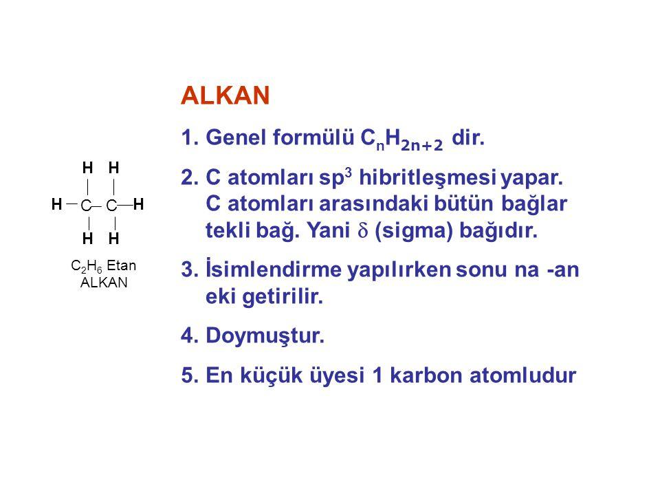 ALKEN 1.Genel formülü C n H 2n dir.2. C atomları arasında en az bir tane 2 li bağ vardır.