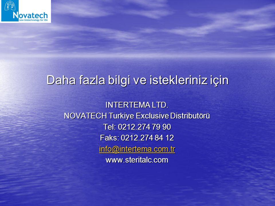 Daha fazla bilgi ve istekleriniz için INTERTEMA LTD. NOVATECH Turkiye Exclusive Distributörü Tel: 0212.274 79 90 Faks: 0212.274 84 12 info@intertema.c