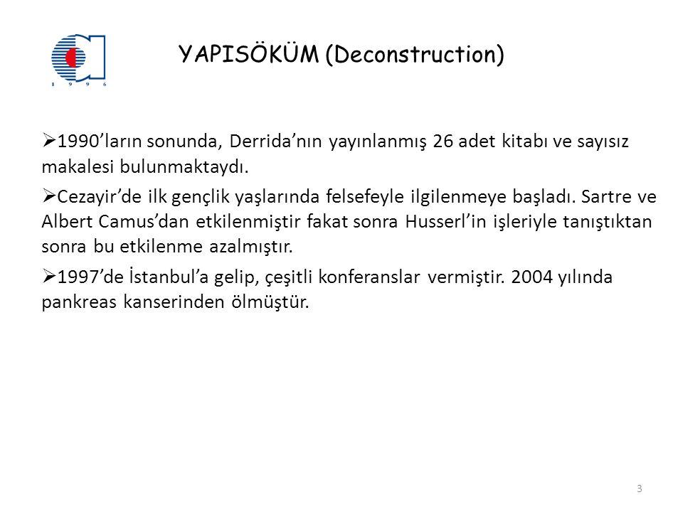 YAPISÖKÜM (Deconstruction)  1990'ların sonunda, Derrida'nın yayınlanmış 26 adet kitabı ve sayısız makalesi bulunmaktaydı.