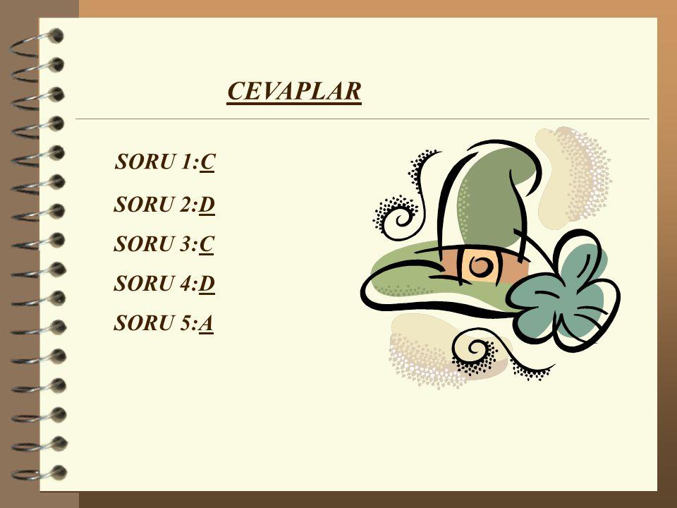 CEVAPLAR SORU 1:C SORU 3:C SORU 4:D SORU 5:A SORU 2:D