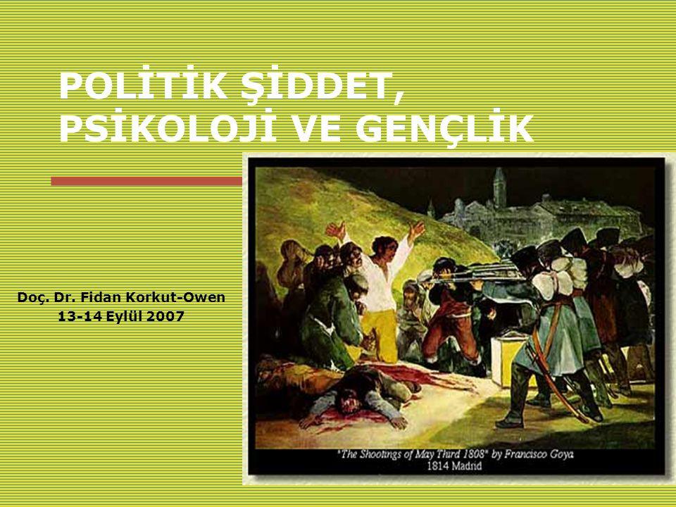 Politik şiddet, HÜ, 13 Eylül 20071 POLİTİK ŞİDDET, PSİKOLOJİ VE GENÇLİK Doç.