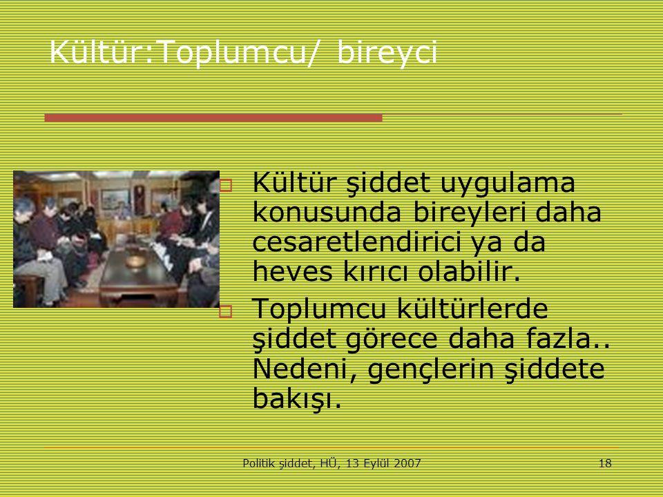Politik şiddet, HÜ, 13 Eylül 200718 Kültür:Toplumcu/ bireyci  Kültür şiddet uygulama konusunda bireyleri daha cesaretlendirici ya da heves kırıcı olabilir.
