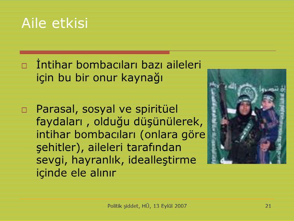 Politik şiddet, HÜ, 13 Eylül 200721 Aile etkisi  İntihar bombacıları bazı aileleri için bu bir onur kaynağı  Parasal, sosyal ve spiritüel faydaları, olduğu düşünülerek, intihar bombacıları (onlara göre şehitler), aileleri tarafından sevgi, hayranlık, idealleştirme içinde ele alınır