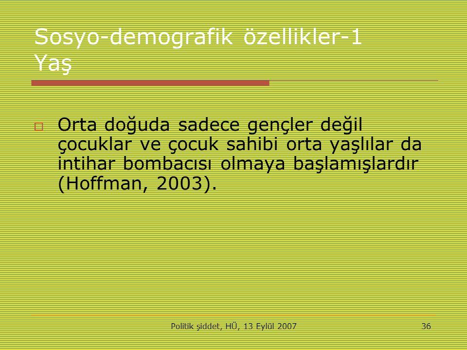 Politik şiddet, HÜ, 13 Eylül 200736 Sosyo-demografik özellikler-1 Yaş  Orta doğuda sadece gençler değil çocuklar ve çocuk sahibi orta yaşlılar da intihar bombacısı olmaya başlamışlardır (Hoffman, 2003).