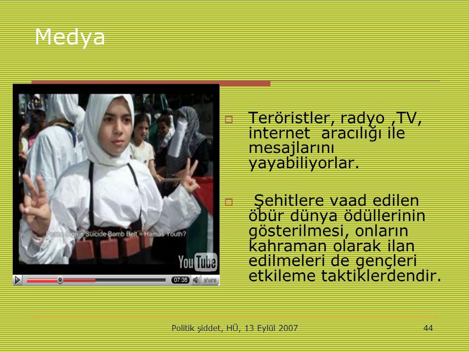 Politik şiddet, HÜ, 13 Eylül 200744 Medya  Teröristler, radyo,TV, internet aracılığı ile mesajlarını yayabiliyorlar.